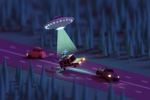 street nature mohamed chahin aliens alien abduction night car trees render forest geometry macro flying saucers