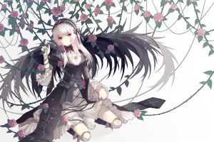 suigintou anime girls flowers kneeling anime rozen maiden wings