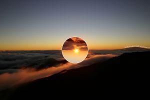 sun nature clouds circle
