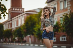 sunglasses earring street necklace jean shorts portrait bokeh women depth of field looking away belly button model outdoors women outdoors belly