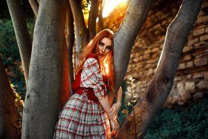 sunlight christina konstantinovna portrait redhead backlighting depth of field looking at viewer outdoors kaan altindal women outdoors dress women trees freckles model