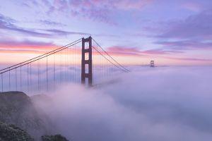 sunrise golden gate bridge landscape sunrise mist 360 bridge