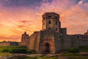 sunrise sky castle poland fortress