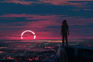 sunset aenami illustration city map sky