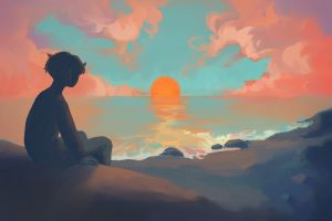 sunset children sea landscape digital art clouds painting illustration sun
