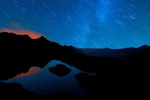 sunset long exposure water landscape dark nature night reflection silhouette rock mountains blue lake