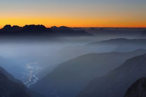 sunset mountains valley