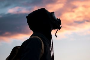 sunset sky gas masks mask