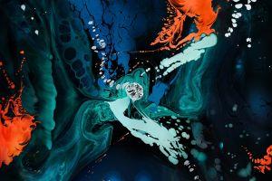 surreal blue abstract orange artwork color burst