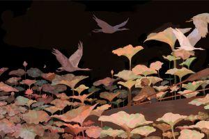 surreal environment fantasy art birds digital art rowboat