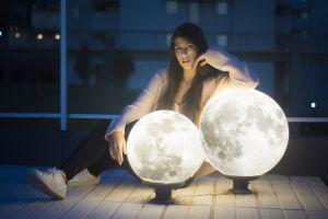 sweater 500px leggings looking at viewer lights model sneakers women brunette glasses depth of field moon