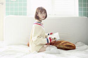 sweater portrait women pillow books brunette white stockings in bed side view model kneeling stockings necklace fake glasses women indoors