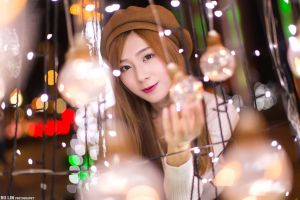 sweater street smiling asian night white sweater brunette bokeh eyeliner berets looking at viewer model women outdoors christmas lights portrait