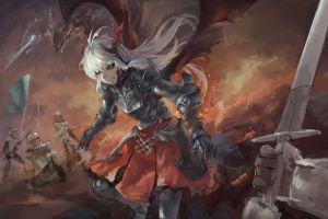sword anime girls fantasy art anime red eyes fantasy girl
