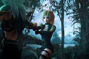 sword blonde fantasy art women elves