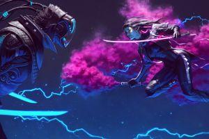 sword cyberpunk neon women lights brunette armor long hair helmet yujin kim smoke painting