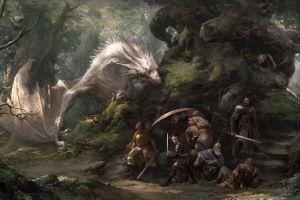 sword dragon trees moss plants landscape xiaodi jin women rocks shield leather armor forest men concept art warrior