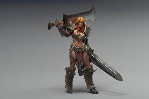 sword gray background tattoo women barbarian fantasy girl long hair diablo 3: reaper of souls green eyes armor diablo iii video games redhead render