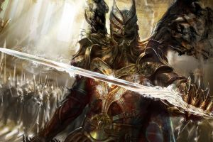 sword warrior armored fantasy art