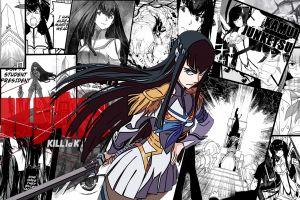 sword white skin manga anime girls kill la kill dark hair anime kiryuin satsuki white dress