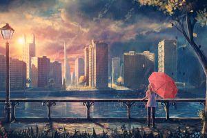 sylar cityscape sky city trees lantern anime girls anime umbrella sunset