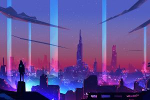 synth neon retrowave cyberpunk digital art
