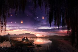 t1na willow trees artwork boat sunset lanterns