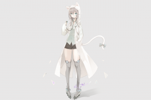 tail anime anime girls simple background