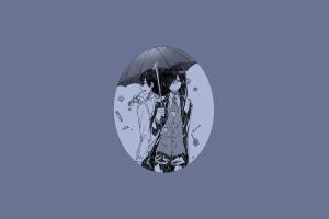 takiya makoto simple background fafnir (kobayashi-san chi no maid dragon) monochrome looking at viewer umbrella kobayashi-san chi no maid dragon