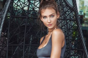 tank top portrait brunette looking at viewer bare shoulders blue eyes women face down rachel cook cleavage mouth model