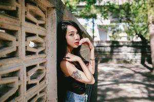 tattoo asian jeans women long hair