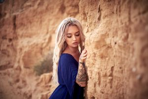 tattoo long hair closed eyes blue dress portrait blonde women