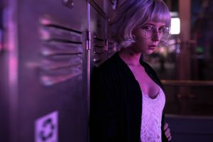 tattoo women white tops silver hair women with glasses lockers model portrait women indoors looking at viewer jacket
