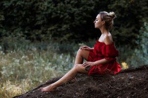 tattoo women women outdoors red dress closed eyes barefoot hairbun dress sitting bare shoulders forest legs blonde model profile