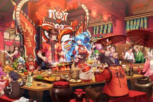 tavern ultra-wide anime boys anime girls anime alcohol