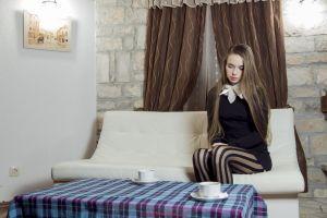taya karpenko  women long hair pantyhose pornstar milena d cup couch lamp sitting curtains brunette women indoors