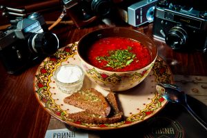 technology soup food bread camera borscht spoon