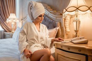 telephone women towel head bathrobes women indoors model