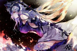 thigh-highs long hair jeanne d'arc alter elbow gloves fate/grand order weapon spear fate series gray hair