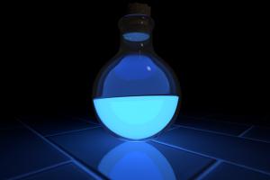 tiles blue light dark glowing digital art abstract blue potions glass fluid