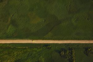 top view trees field car landscape dirt road nature aerial view grass