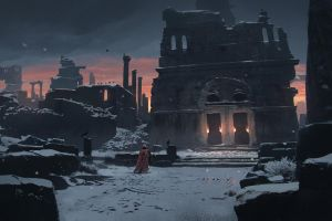 torches building snow ruins soldier spear sunset