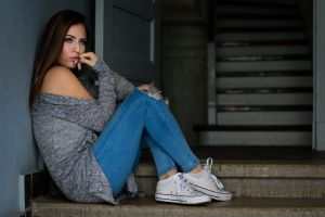torn jeans blue eyes red nails portrait women socks painted nails converse sitting sneakers