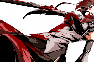 touhou blood inubashiri momiji anime girls skirt sword scars simple background