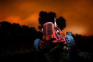 tractors sky vehicle dark