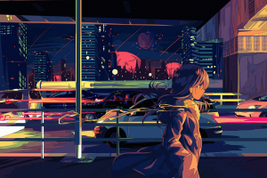 traffic berry verrine anime girls urban anime cityscape car