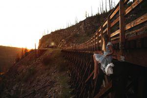 train women vehicle women outdoors landscape