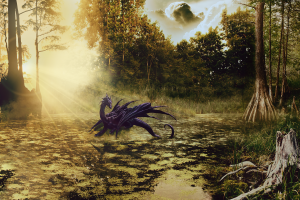 tree stump trees sun rays swamp photo manipulation dragon