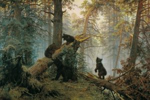 trees animals painting morning in a pine forest ivan šiškin bears konstantin savitski nature classical art forest 1889 (year)