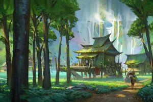 trees plants grass moss building house forest waterfall rocks road men jeremy fenske